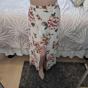 Forever 21 Floral Wrap Front Maxi Skirt Large